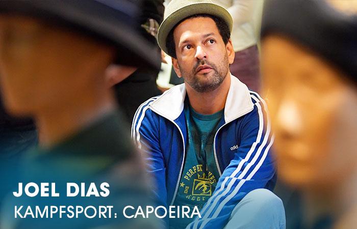 Der Dozent Joel Dias lehrt an der Artrium Schauspielschule Hamburg das Fach Kampfsport: Capoeira